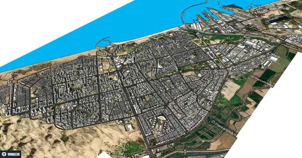 מודל תלת ממדי של העיר אשדוד