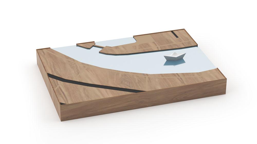 מודל תלת ממדי מאגרי מים וחופים