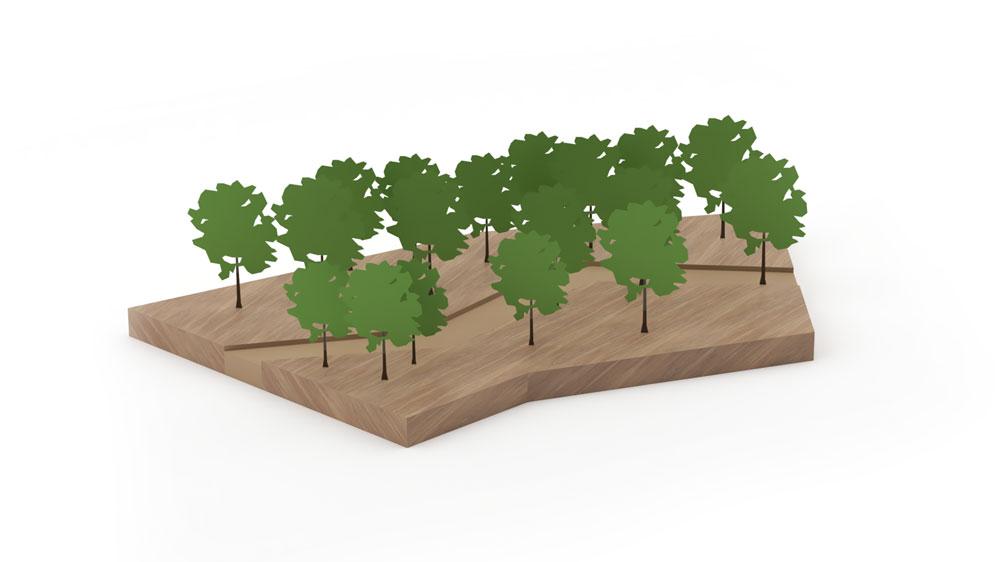 מודל תלת ממדי עינוי עם צמחייה ועצים