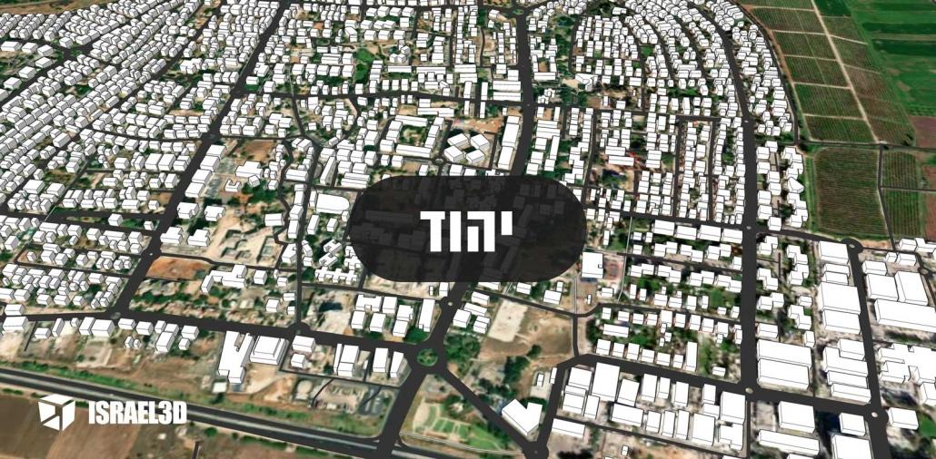 מודל תלת ממדי עירוני של העיר יהוד