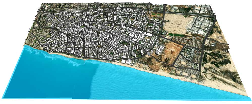מודל עירוני תלת ממדי של העיר בת ים