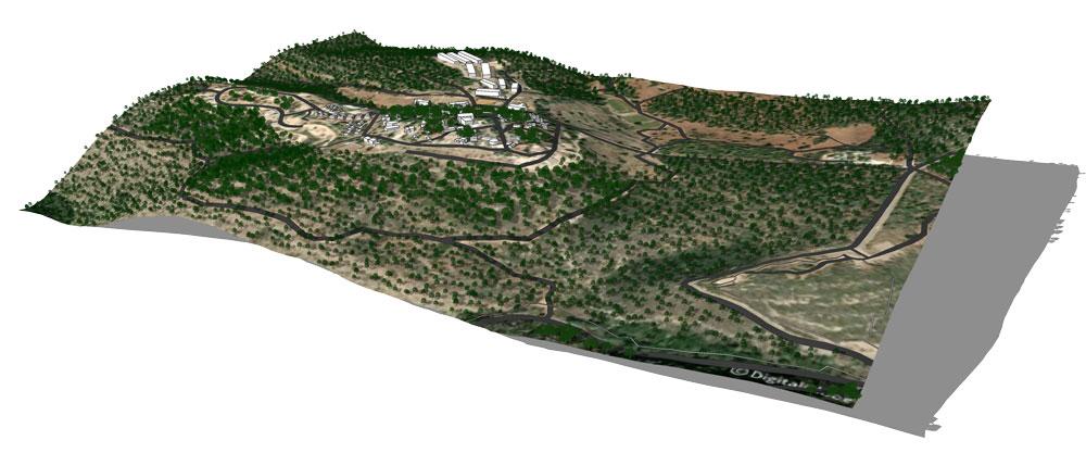 מודל תלת ממדי של קיבוץ בית אורן