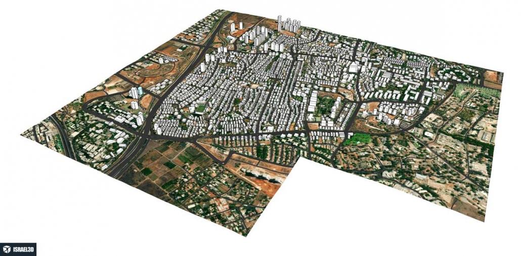 מודל תלת ממדי עירוני של העיר קרית אונו